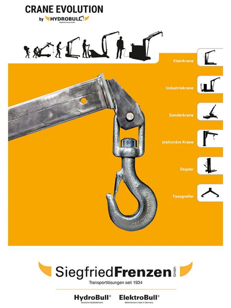 Hydrobull Titelseite Katalog 2020, Werkstattkrane, Stapler, Sonderkrane, industriekran